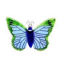 Dekorativ grøn-blå sommerfugle i glas