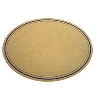 Oval, naturfarvet etiket med blå rand