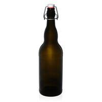 """1000ml antikgrüne Bierflasche """"Mondo"""" mit Bügelverschluss"""