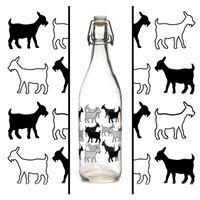 """1000ml bouteille en verre """"petites chèvres"""""""