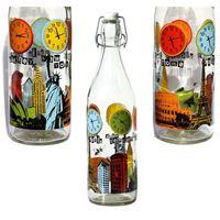 "1000ml glazen fles met druk ""World Times"""