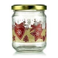 "200ml Christmas jar ""LUCKY X-MAS"" with twist off lid"
