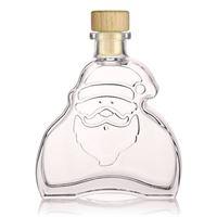 """200ml bouteille en verre clair """"Santa Claus"""" avec liège tête de bois"""