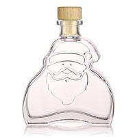 "200ml clear glass bottle ""Santa Claus"" with wooden stopper"