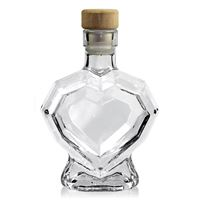 "200ml clear glass bottle ""Diamond heart"""