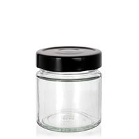 "220ml clear design jar ""Aurora"" black"