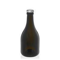 """330ml antyczna zielona butelka na piwo """"Horta"""" z kapsel srebrny"""