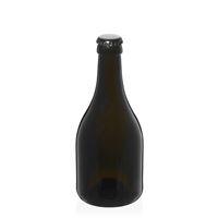 """330ml bottiglia verde antica per birra """"Horta"""" tappo a corona nero"""