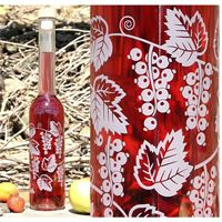 """350 ml flaska med etsat motiv """"Vinbär"""""""