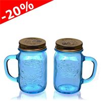 "415ml pot avec anse ""Quattro Stagioni"" azur, lot de 2"