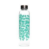 """500ml glass drinking bottle """"Turquoise lace carpet"""""""