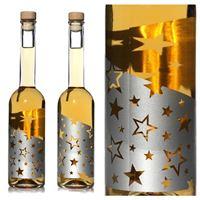 """500ml flaske med tryk """"Sølvstjerner"""", med effekt"""