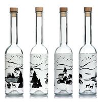 "500ml glazen fles ""sneeuw wit en zwart """