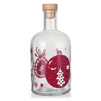 """700ml bouteille de Noël """"Boules de Noël"""" bordeaux"""