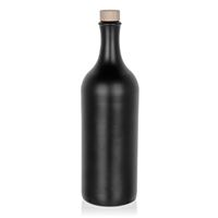"""750ml Bottiglia in Ceramica a collo lungo con tappo in sughero """"nero-matto"""""""
