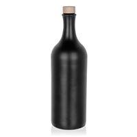 750ml Keramikflaske med høj hals, munding med korkprop, matsort