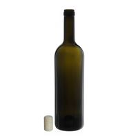 "750ml ancient green wine bottle ""Golia Leggera"" agglomerated cork"