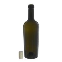 "750ml ancient green wine bottle ""Imperiale Alta Leggera"" agglomerated cork"