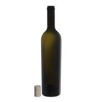"750ml ancient green wine bottle ""Liberty Leggera"" natural cork"