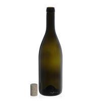 """750ml antiekgroene wijnfles """"Tiffany"""" natuurlijke kurk"""