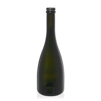 """750ml antyczna zielona butelka na szampan/piwo """"Tosca"""" z kapsel czarny"""