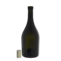 "750ml botella de vino verde antigua ""Exclusive"" corcho natural"