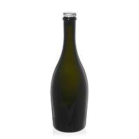 """750ml bottiglia verde antica per spumante/birra """"Carmen"""" tappo a corona argento"""