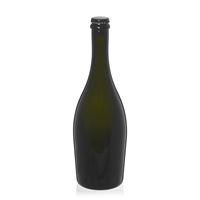 """750ml bottiglia verde antica per spumante/birra """"Carmen"""" tappo a corona nero"""