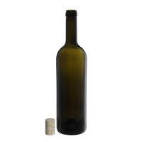 """750ml bottiglia verde antica per vino """"Golia Leggera"""" sughero naturale"""