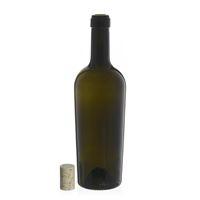 """750ml bottiglia verde antica per vino """"Imperiale Alta Leggera"""" sughero naturale"""
