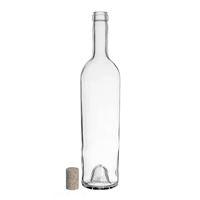"750ml clear wine bottle ""Liberty Leggera"" natural cork"