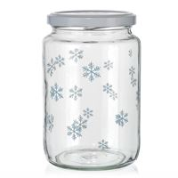 "795ml Christmas jar ""Snowflakes"" blue"
