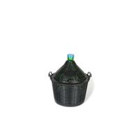 Demijohn green 15 litres with plastic basket