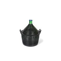 Demijohn green 20 litres with plastic basket