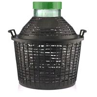Balloon bottle wide neck 15 litre with plastic basket