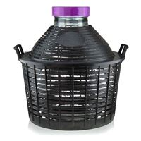 Balloon bottle wide neck 20 litre with plastic basket