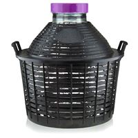 Balloon bottle wide neck 25 litre with plastic basket
