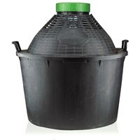 Balloon bottle wide neck 34 litre with plastic basket