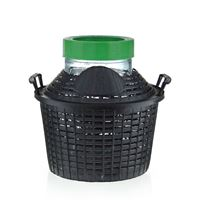 Balloon bottle wide neck 5 litre with plastic basket