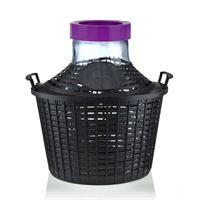 Bouteille bonbonne col large de 10 litres avec panier en plastique