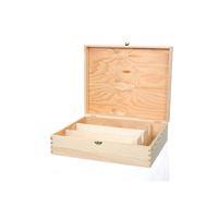 Caja de madera natural ligera para 3 botellas de vino