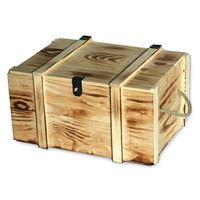 Caja de madera clara para 6 botellas de vino flameado