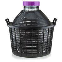 Damigiana collo largo da 25 litri con cesto in plastica