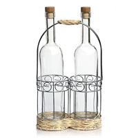 Flaschenhalter DUO aus verchromten Metall und Rattan