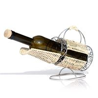 Bottle holder chromed metal and rattan