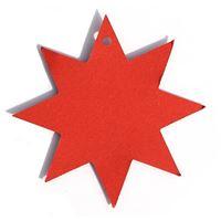 Hängkort formad som en stjärna, rödt