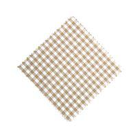Marmalade jar napkin check beige 12x12cm incl. textile bow
