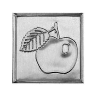"Metal label ""apple"""