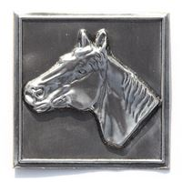 Metal label horse