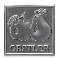"Metalletikett ""Obstler"""